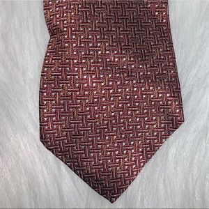 Lario red design silk tie D